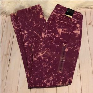 Lovesick maroon bleached skinny jeans sizes 7 NWT